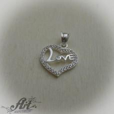 """Сребърен медальон с цирконий """" Сърце""""  P-558"""