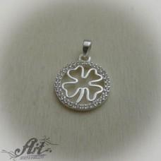 """Сребърен медальон с цирконий """" Детелинка""""  P-561"""