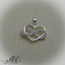 "Сребърен медальон с цирконий "" Безкрайна любов"" P-563"