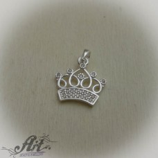 "Сребърен медальон с  цирконий "" Корона"" P-569"